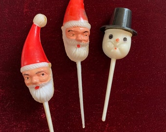 Vintage 1950s collection of 3 plastic Christmas themed cupcake picks, Christmas cake decoration, mid century Christmas