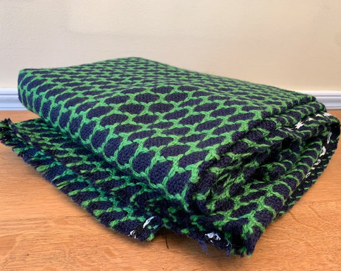 Vintage woven fabric in navy blue and kelly green geometric print, high fashion fabric, Chatillon Mouly Roussel Paris