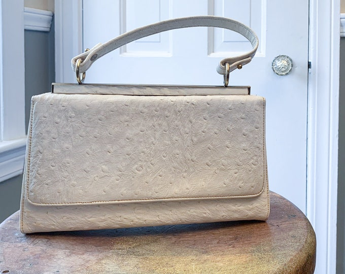 Vintage 1960s white textured handbag with gold trim | mod summer pocketbook | white top handle bag | made by Triangle New York