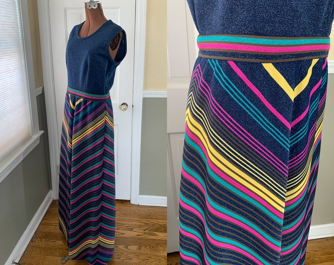 Vintage 1970s mod knit 2 piece sparkly maxi dress & jacket in navy blue and bold stripes | full length dress and jacket | Size S