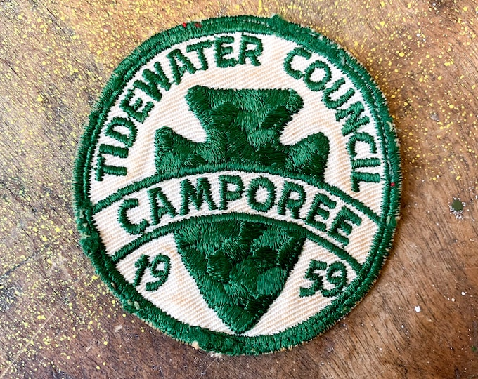 Vintage 1950s Boy Scouts of America embroidered patch, Tidewater Council Camporee, collectible patches