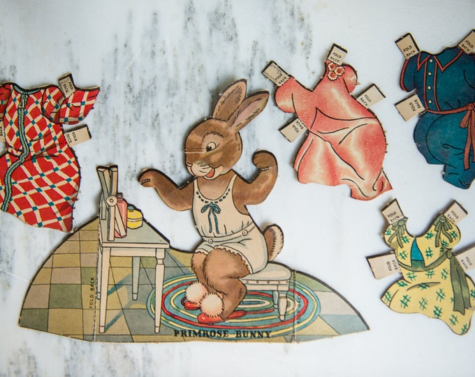 Vintage 1930s or 1940s bunny rabbit paper doll collection with outfits and accessories | over 60 pieces