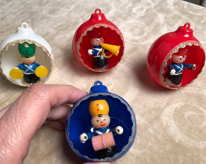 Vintage 1960s collection of 4 figural plastic Christmas ornaments | marching band ornaments | kitschy Christmas bulbs