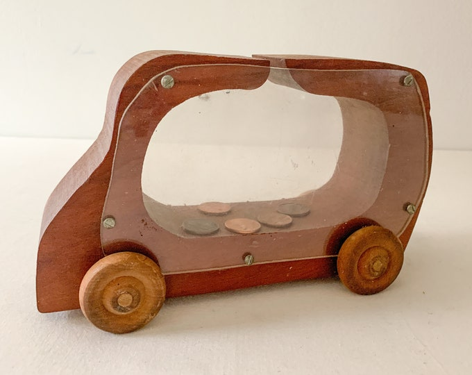 Vintage handmade wooden truck bank, wooden toy bank, handmade toy piggy bank