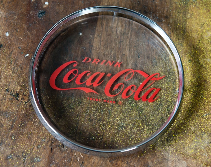"Vintage ""Drink Coca-Cola"" round plastic trademark name plate 