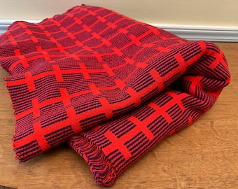 Vintage knit geometric print fabric in red and navy blue, mod print double knit fabric, MCM fabric
