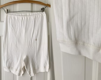 Vintage white t-shirt material bloomers, knickers, panties, made by Interlock Wasche, NOS, size XS