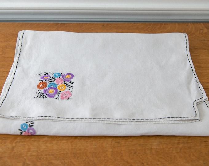 Vintage embroidered dresser scarf or table runner with mod floral design