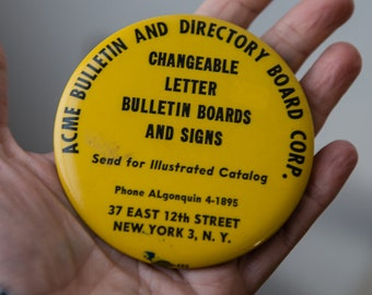 Vintage 1940s advertising give-away pocket mirror from Acme Bulletin & Directory Board Corp. New York NY
