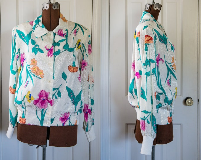 Vintage 1980s colorful floral jacket/blouse with ribbed waistband and cuffs| Castleberry | Gump's Dept Store | Size L