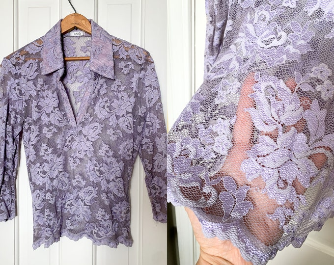 Vintage Caché lavender stretch lace blouse | sheer lace blouse | purple lace blouse | stretch lace top | Size M