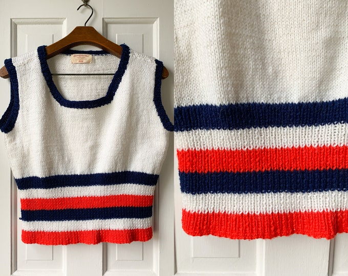 Vintage 1960s hand-knitted red, white and blue tennis vest, handmade made by Edwina, Size L