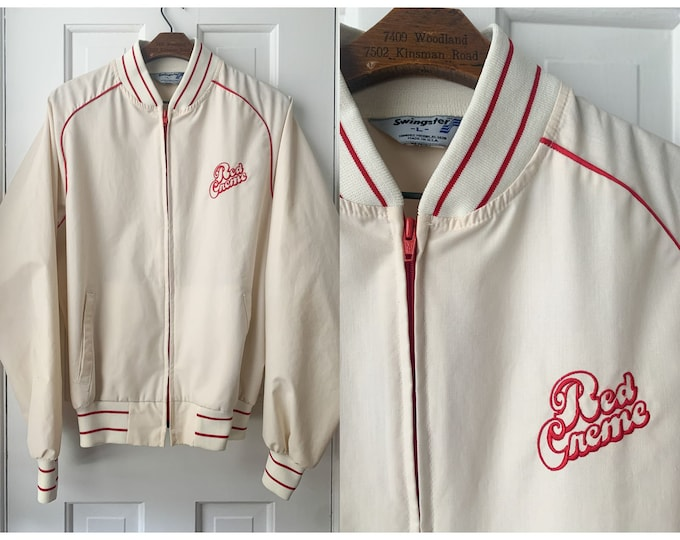 Vintage 80s white Swingster Red Creme logo zipper jacket