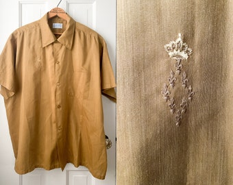 Vintage 50s mens gold short sleeve button down shirt XL