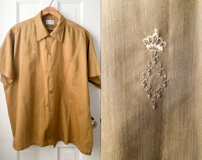 Vintage 50s mens gold short sleeve button down shirt XL