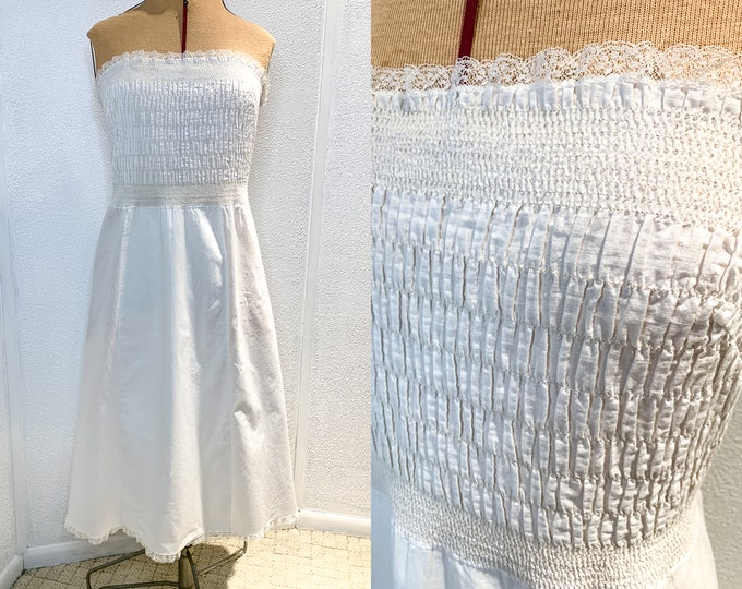 Vintage strapless white cotton dress or slip with elastic ruching smocked bodice, Size S/M