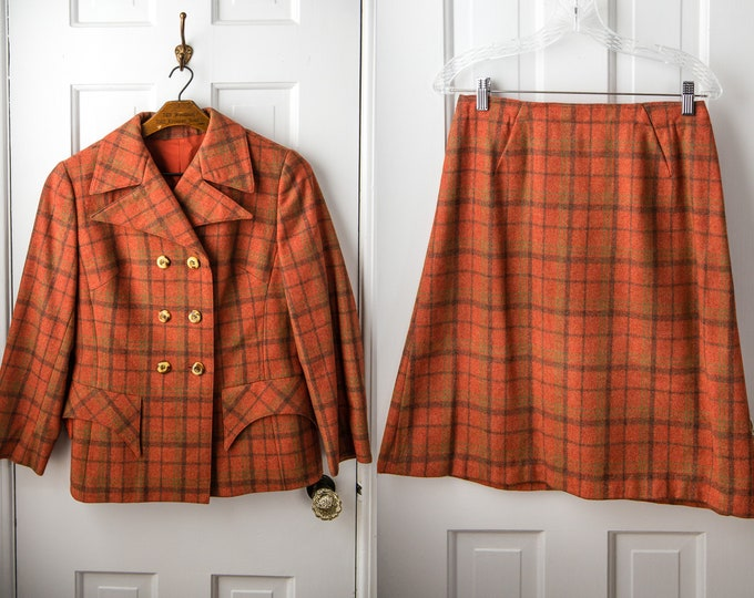 Vintage 60s 2pc wool skirt suit in orange plaid, made in Austria, Size M