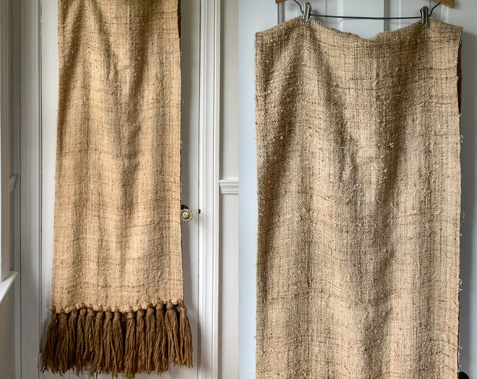 "Vintage extra-long light brown flax linen table runner or piano scarf, farmhouse decor, rustic cabin decor, 21"" x 112"""