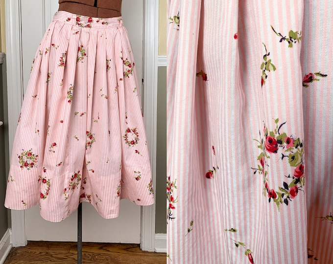 Vintage 1960s handmade pink and white striped skirt with rose wreath pattern | garden party skirt | summer skirt | Size XS