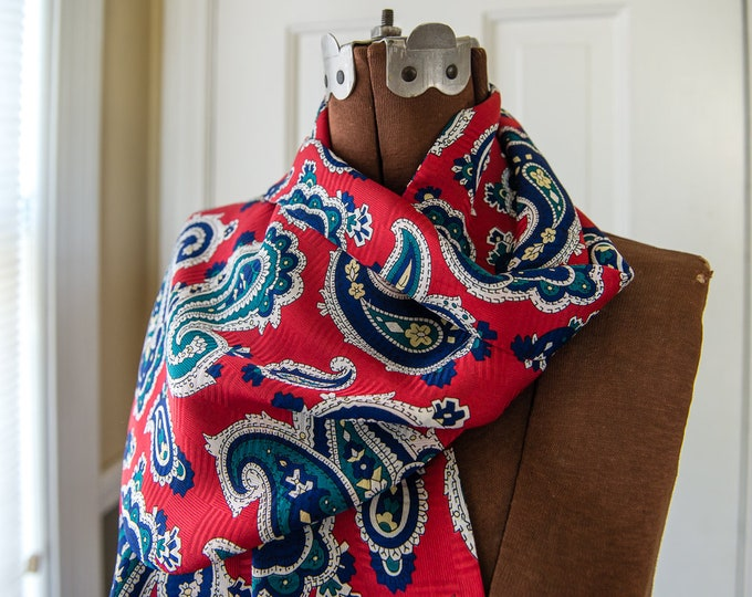 "Vintage red, blue & green 100% silk fringed paisley scarf | men's dress scarf | 11"" x 51"""