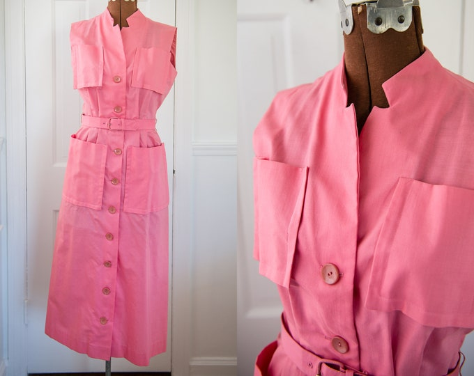 Vintage 1950s pink sleeveless button-up dress with pockets, Helen Whiting Inc, Size XS/S