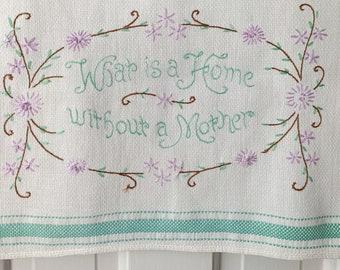 "Vintage hand-embroidered ""Mother"" cotton kitchen towel or tea towel, mid century kitchen decor"