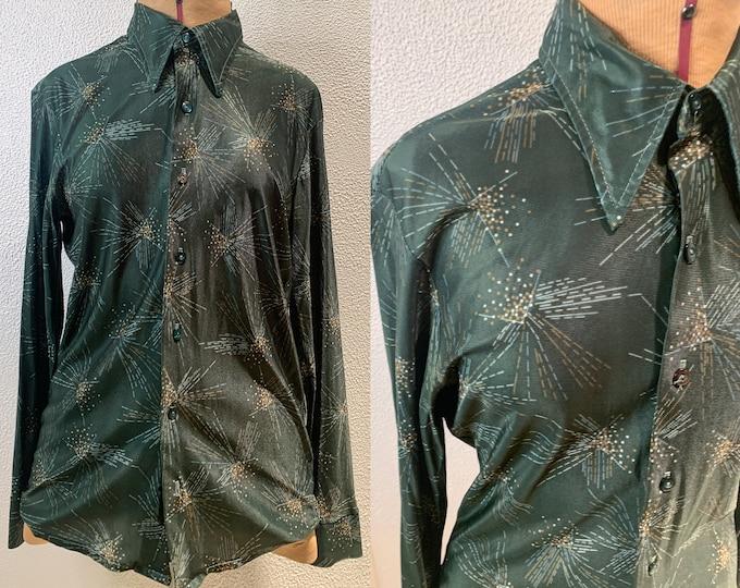 Vintage 70s wide collared button down disco shirt, mod starburst print, David Robert, Size M