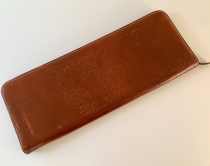 Vintage 50s 60s brown leather necktie travel case, vintage tie case