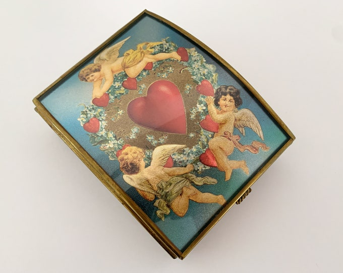 Vintage brass glass and mirror trinket box with angels and heart foil design, Made in Mexico, jewelry box