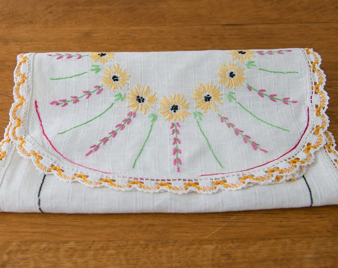 Vintage embroidered dresser scarf or table runner with sunflower motif