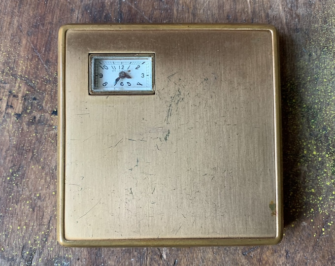 Vintage 1950s powder & rouge compact with attached watch | Illinois Watch Case Co. | Weldwood Watch