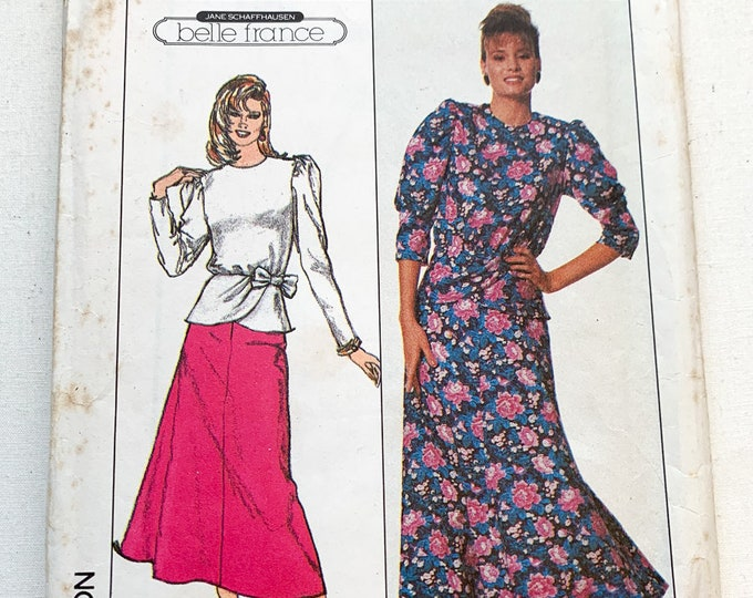 Vintage 1987 Simplicity sewing pattern 8190 for misses dress with flared skirt and peplum bodice detail | 80s dress pattern | Size 8