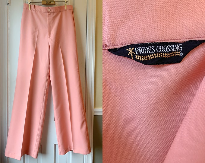 Vintage 1970s peach wide leg high waisted trousers, 70s dress pants, made by Prides Crossing, Size L