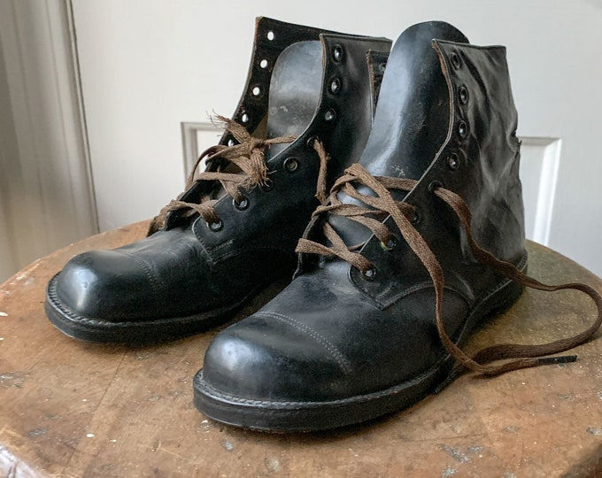 Vintage Pete's Shoe Co. Diamond Brand leather lace-up boots or shoes Sz 4.5/5