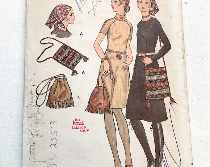 Vintage 1960s Butterick sewing pattern 6018 misses one-piece knit dress, hat and bag | 60s dress pattern | Size 12