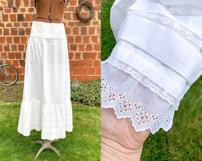 Authentic Victorian white cotton and lace skirt or petticoat | white vintage underskirt | wedding slip | Size M