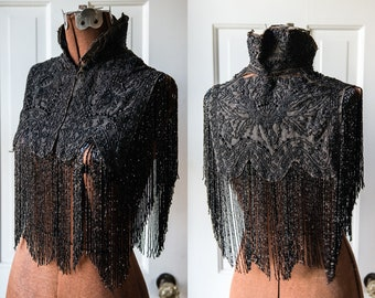 Authentic Edwardian or Victorian high collared mourning shawl with elaborate jet beading design and extravagant fringe