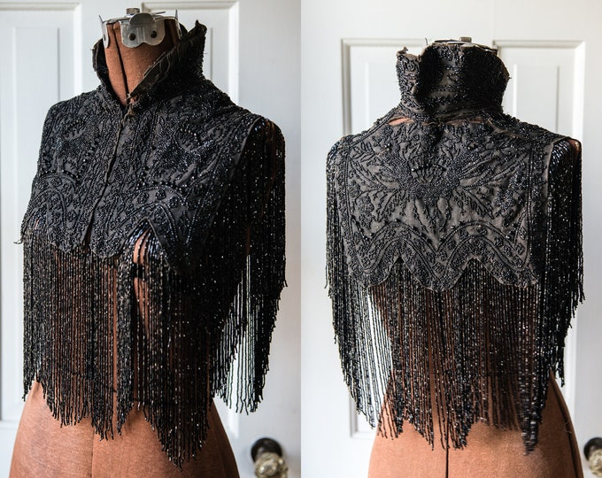 Edwardian or Victorian high collared mourning shawl with elaborate jet beading design and extravagant fringe