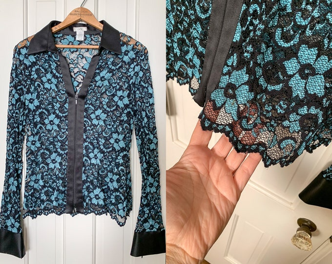 Vintage Caché blue and black stretch lace blouse | sheer lace blouse | black lace blouse | stretch lace top | Size M