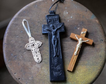 Vintage collection of 3 religious crosses and crucifixes | crocheted cross | wooden crucifix