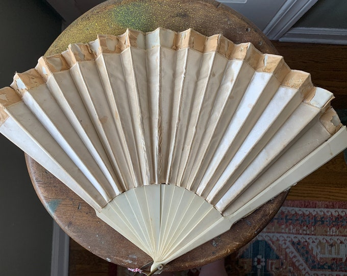 Victorian silk and paper french hand fan perfect for a restoration project