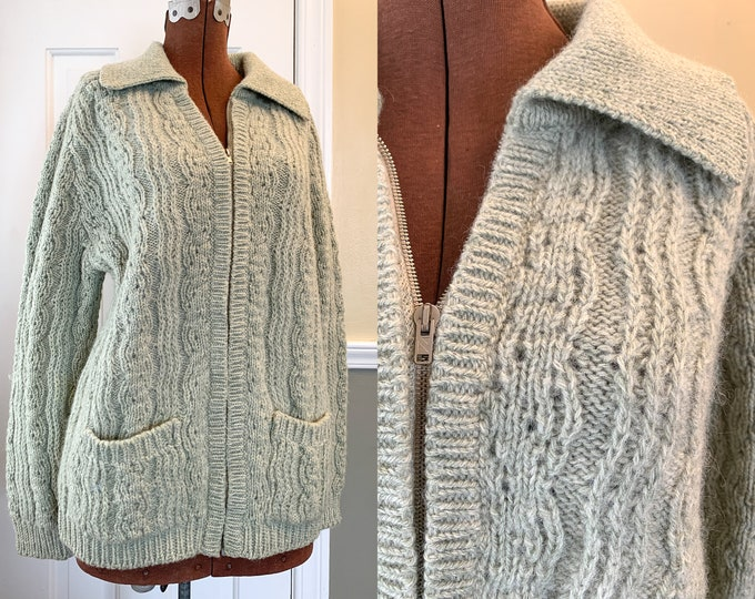 Vintage 1980s hand-knit green wool cardigan sweater with zipper front and pockets, Gaeltarra Irish knit sweater, Size XL