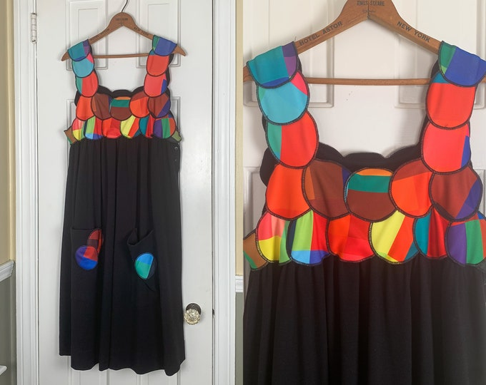 Brightly colored mod knit tank dress made by Maxjenny | Modern pinafore dress | art fashion jumper | Size XL