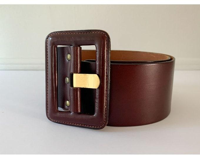 Vintage 1980s burgundy color or cordovan color wide leather belt