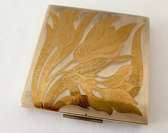 Vintage Elgin America powder & mirror compact in silver and gold floral design
