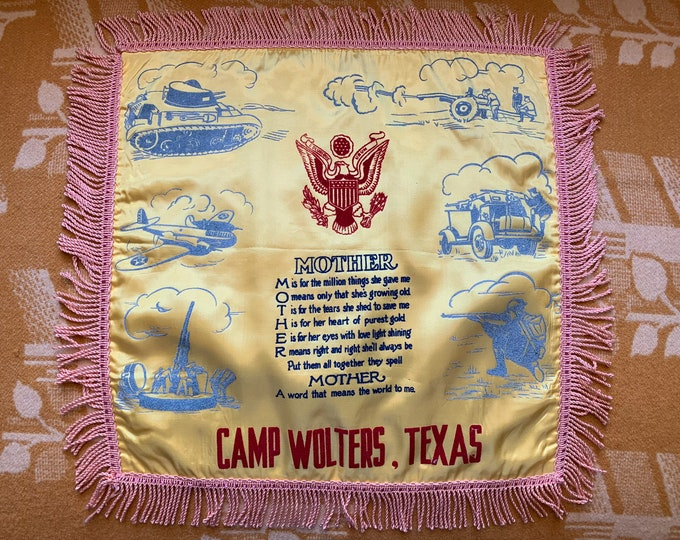 "Vintage 1940s Camp Wolters, Texas flocked mother pillow sham | military souvenir pillow | United States Army souvenir | 16"" x 16"""