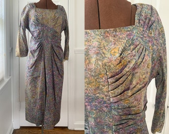 Vintage 40s 50s watercolor print ruched or pleated front day dress, mid century work ware dress, Size M