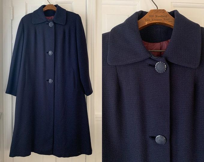 Vintage 1950s navy blue winter coat, 50s overcoat