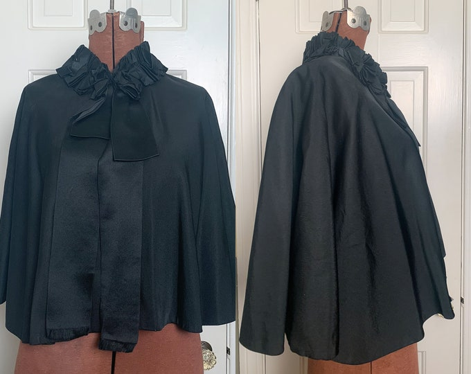 HOLD FOR PETER Authentic Victorian black cape capelet shawl cloak with ruffled collar and wide ribbon detail | goth fashion