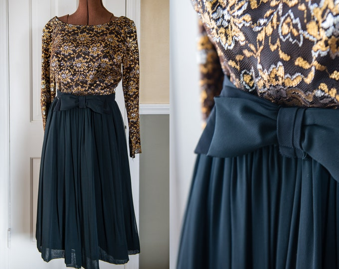 Vintage 1960s little black dress with metallic gold and silver floral lace bodice and belt with bow | black cocktail dress | Size XS/S